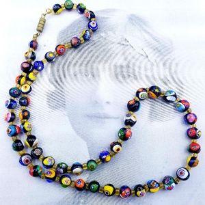 Vintage Italian Milifore Venetian glass necklace